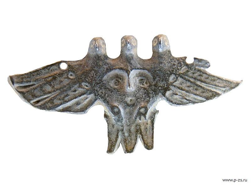 Трехголовая птица-первопредок. Пермский краевой музей V-VII вв. Пермский звериный стиль